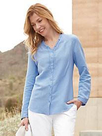 Silk Linen Shirt with Pintucking