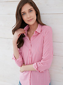 Silk Cotton Stripe Blouse