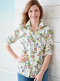 PerfectSilk Washable Silk Floral Shirt