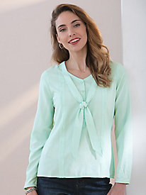 Long-Sleeves Solid Silk Fuji Blouse With Ties