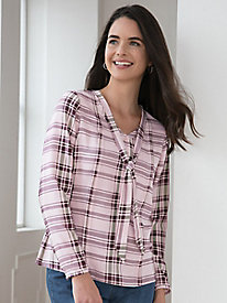 Long-Sleeve Plaid Silk Fuji Blouse With Ties