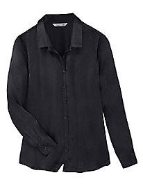 Long-Sleeve Silk Charmeuse Blouse