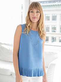 Sleeveless Silk Linen Peplum Top