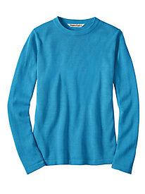 Fine Gauge Silk Cotton Long Sleeve Crewneck Sweater