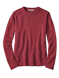 Fine Gauge Silk Cotton Long Sleeve Crewneck Sweater