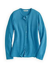 Fine Gauge Silk Cotton Crewneck Cardigan