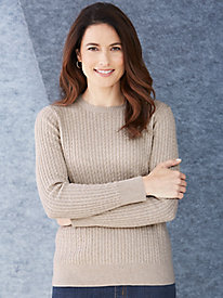 Cotton Silk Cable Crewneck Sweater