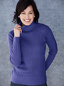Cotton Silk Cable Turtleneck Sweater