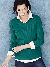 Cotton Silk Cable V-neck Sweater