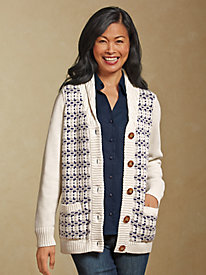 Shawl Collar Cotton Cardigan...