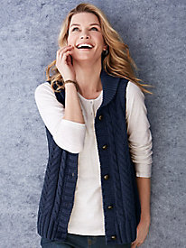 Silk Cotton Cable Sweater Vest