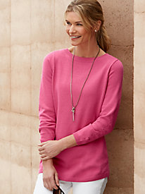 Silk Cotton 3/4-Sleeve Pointelle Sweater