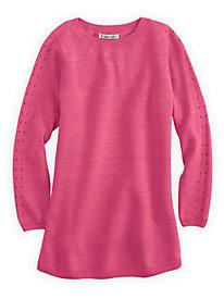 Silk Cotton 3/4-Sleeve Pointelle Sweater