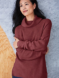 Cotton Silk Relaxed Turtleneck Sweater
