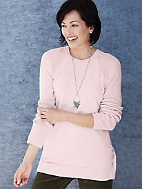 Cotton Silk Crewneck Sweater with Button Details