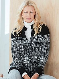 Cotton Wool Fair Isle Cardigan Sweater