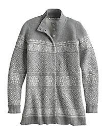 Cotton Wool Fair Isle Cardigan Sweater