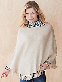 Cotton Wool Asymmetrical Sweater-Knit Poncho