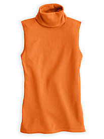 Fine Gauge Silk Cotton Sleeveless Turtleneck