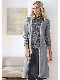 Long-Sleeve Cotton Silk Long Cardigan