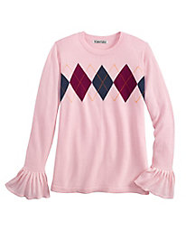 Argyle Long-Sleeved Crewneck Sweater with Ruffle Cuffs