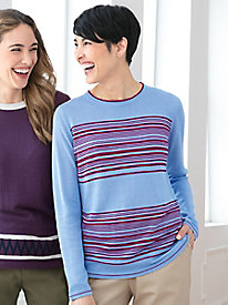 Silk Cotton Fine-Gauge Long-Sleeve Stripe Crewneck Sweater