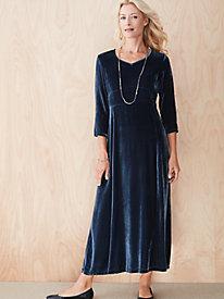 Silk-Blend Velvet 3/4-Sleeve Dress