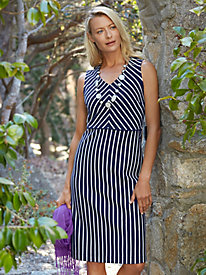 Ponte Knit Stripe V-Neck Dress
