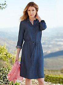 Tencel® Long Sleeve Shirtdress in Chambray
