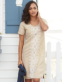 Silk Linen Embroidered Shift Dress