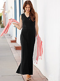 Stretch Cotton Knit Maxi Dress