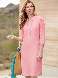 3/4-Sleeve Silk Linen Shift Dress