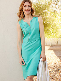 Silk Linen Sleeveless Knee-Length Dress