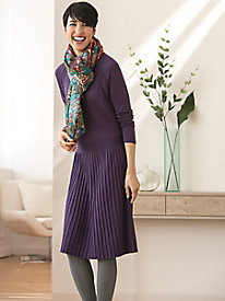 Silk Cotton Knit Dress with Pleated Skirt