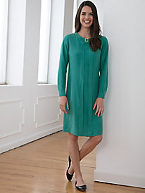 Long-Sleeve Silk Fuji Solid Dress