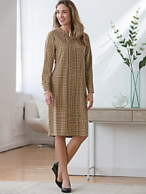 Long-Sleeve Silk Fuji Houndstooth Dress