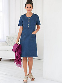 Denim Short-Sleeve Shirt Dress