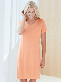 Short Sleeve Above-Knee Nightshirt in Mid-weight Silk Modal