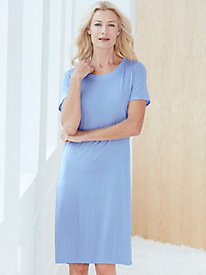 Short Sleeve Knee-Length Nightshirt in Mid-weight Silk Modal