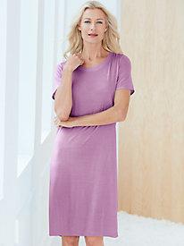 Short Sleeve Knee-Length Nightshirt in Mid-weight Silk Modal