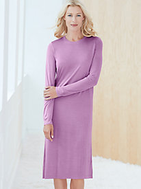 Long Sleeve Below-Knee Nightshirt in Mid-weight Silk Modal
