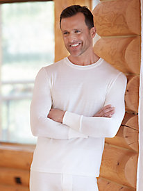 Men's Long Sleeve Crewneck Top in Lightweight Washable Silk