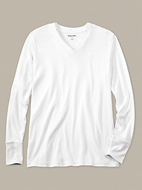 Men's Long Sleeve V-neck Top in Lightweight Washable Silk