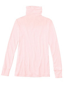 Ladies' Long Sleeve Funnel Neck Top in Lightweight Washable Silk