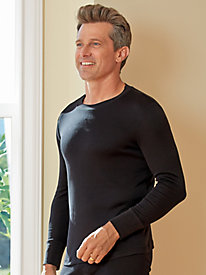 Men's Long Sleeve Crewneck Top in Heavyweight Washable Silk
