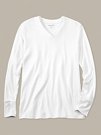Men's Long Sleeve V-neck Top in Mid-weight Washable Silk
