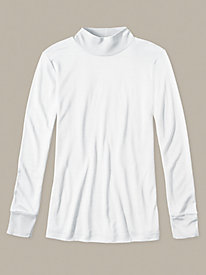 Ladies' Long Sleeve Mock Neck Top in Mid-weight Washable Silk