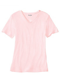 Ladies' Short Sleeve V-Neck Top in Mid-weight Washable Silk