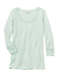 3/4-Sleeve Lightweight Silk Base Layer Top with Lace
