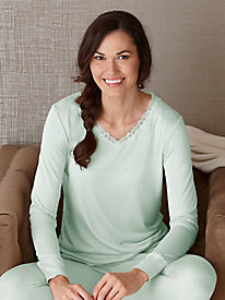 Long Sleeve Lightweight Silk Base Layer Top with Lace